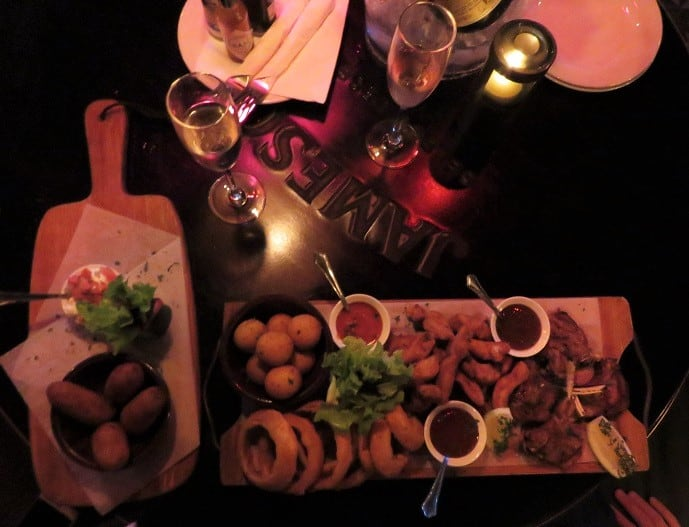 Food at Churchills bar in Melrose Arch