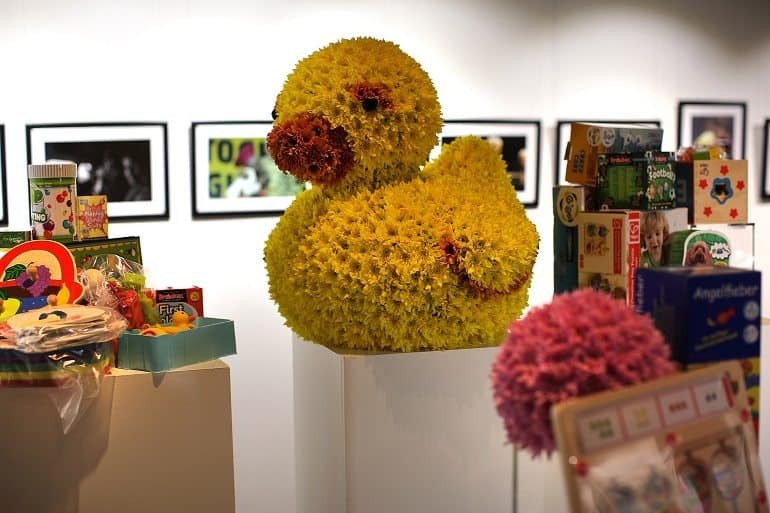 Big rubber ducky flower installation
