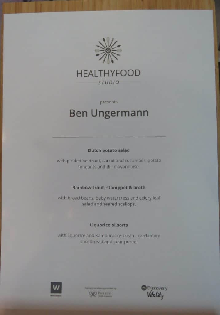 Ben Ungermann Healthy Food Studio menu